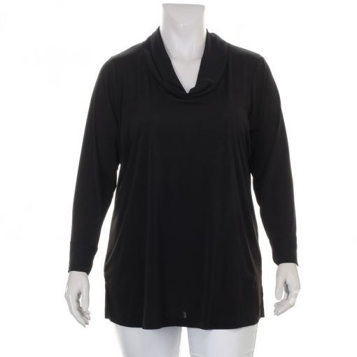 Sempre Piu zwart shirt met ruime col