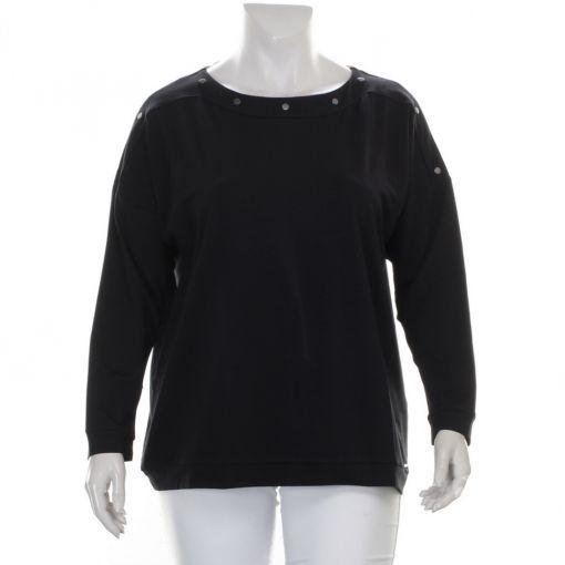 Samoon zwart recht shirt met studs