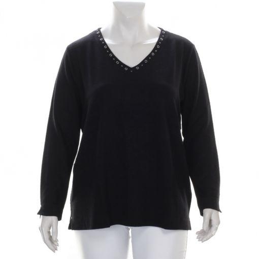 Samoon zwart shirt met studs