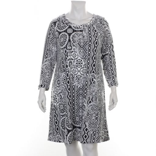 Chris Size zwart witte jurk met etnische print lichte A-lijn