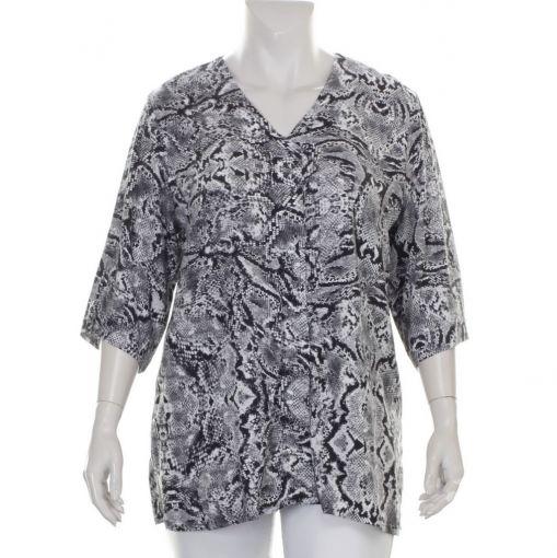 Doris Streich zwart witte blouse met slangenprint