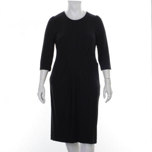 Godske zwarte geplooide geheel gevoerde jurk