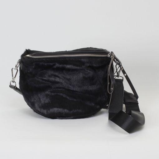 Zwarte leren tas met huid rondom