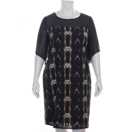 Elinette zwarte jurk met zandkleurige accenten