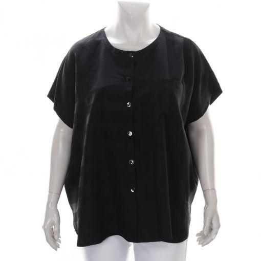 Q'neel zwart glanzend gestreepte blouse