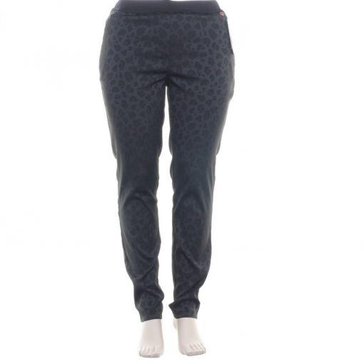 Toni zwarte glanzende broek met zwarte panterprint