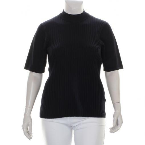 Signature zwarte in boordsteek gebreide pullover