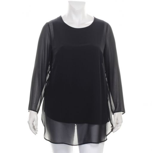 Doris Streich zwarte voile blouse