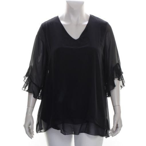 Zwarte feestelijke blouse voile stof